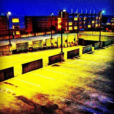 Yellow Wall Art - Photograph - #blue #yellow#parkingdeck #night by Katie Williams