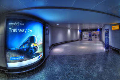 Airport Terminal Photograph - Blue Zone by Evelina Kremsdorf
