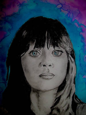 Zooey Deschanel Wall Art - Painting - Blue Zooey Deschanel by Ashley Henry