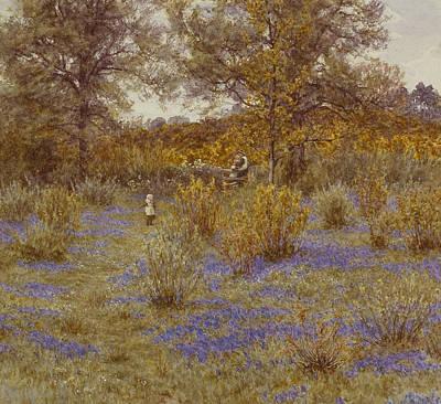 Spring Landscape Painting - Bluebell Copse by Helen Allingham