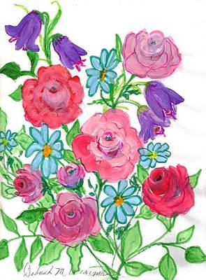 Bluebells And Roses Art Print by Debbie Wassmann