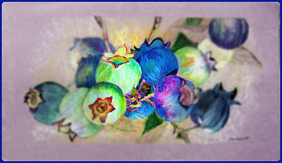 Blueberry Digital Art - Blueberries Prime Time by Mindy Newman