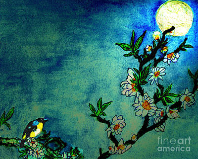 On Paper Photograph - Bluebird In Moonlight Mist Chinese Watercolor by Merton Allen