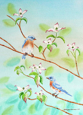 Bluebirds In Dogwood Tree II Art Print