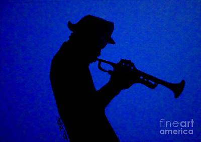 Trumpet Player Drawing - Blues Man by Julie Brugh Riffey
