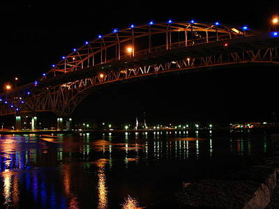 Mixed Media - Bluewater Bridges At Night Facing North by Bruce Ritchie