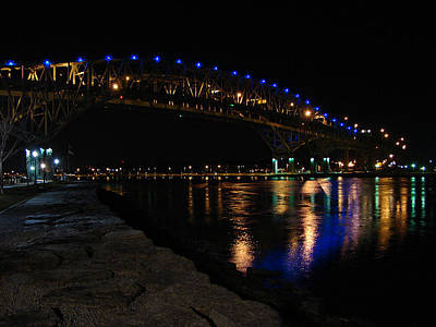 Mixed Media - Bluewater Bridges At Night Facing South by Bruce Ritchie