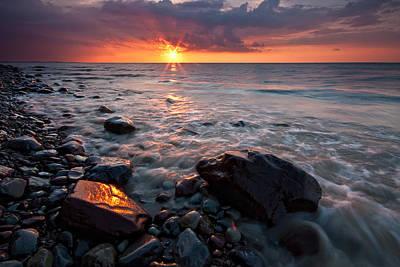 Bluffs Beach Sunset 1 Art Print by Darren Creighton
