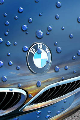 Bmw - Roundel And Raindrops Art Print
