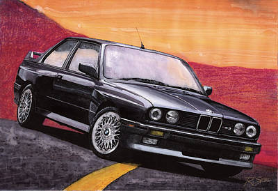 Art Print featuring the painting Bmw E30 M3 by Rod Seel