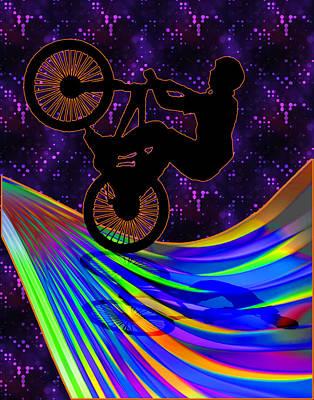 Bmx On A Rainbow Road  Art Print