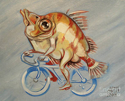 Cycles Painting - Boar Fish Biker by Ellen Marcus