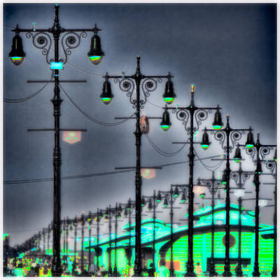 Print featuring the photograph Boardwalk Lights by Chris Lord