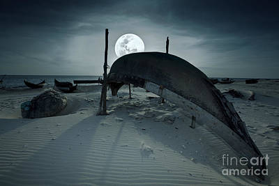Boat And Moon Art Print by MotHaiBaPhoto Prints