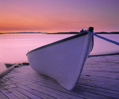 Boat At Dawn, Harrington Harbour, Lower Art Print by Yves Marcoux