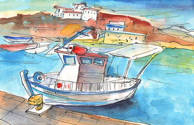 Crete Painting - Boat In Agia Galini 01 by Miki De Goodaboom