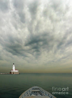Boat On Calm Sea With Stormy Sky And Lighthouse Art Print