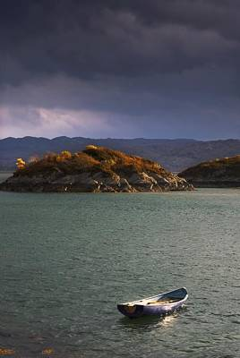 Stormy Tree Photograph - Boat On Loch Sunart, Scotland by John Short
