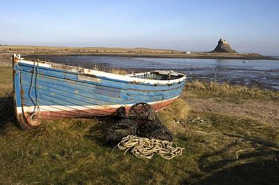 Boat On Shore, Near Holy Island, England Art Print