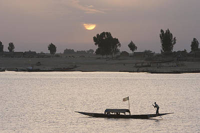 Boat On The Niger River In Mopti, Mali Art Print by Peter Langer