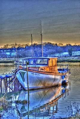 Hdr Photograph - Boat On The River Colne In Wivenhoe by Jane James