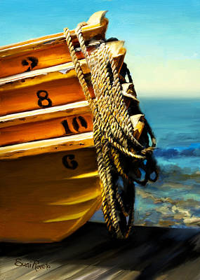 Dory Painting - Boat Ropes by Suni Roveto