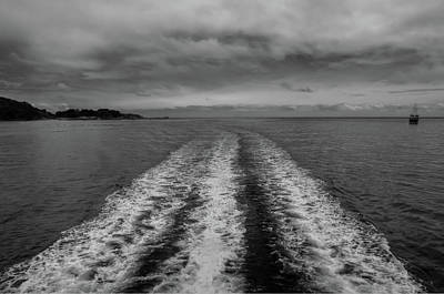 Photograph - Boat Wake In Milford Sound by Harry Strharsky