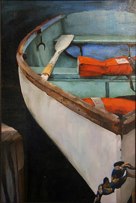 Boat With Red Art Print by Jose Romero