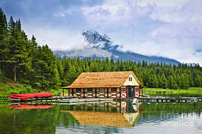 Boathouse On Mountain Lake Art Print