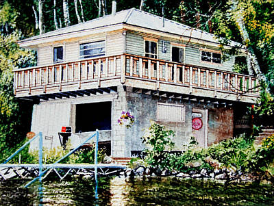 Of Our House Painting - Boathouse Portrait by Hanne Lore Koehler