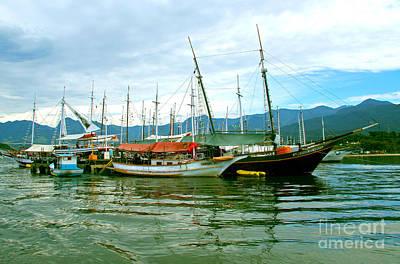 Print featuring the photograph Boats At Paraty Brasil by Nareeta Martin