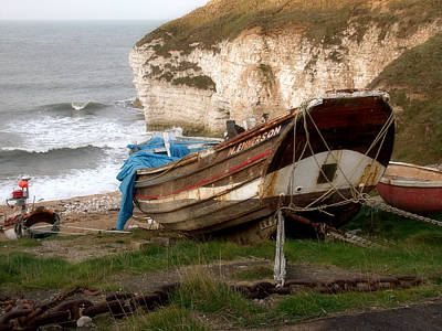 Boats At Thornwick Bay Art Print