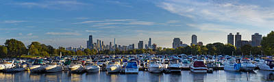 Chicago Skyline Photograph - Boats In The Harbor In Chicago by Twenty Two North Photography