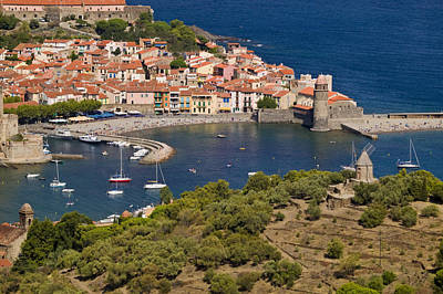 Boats In The Harbor Of Collioure Art Print by Michael Melford