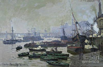 Basin Painting - Boats In The Pool Of London by Claude Monet