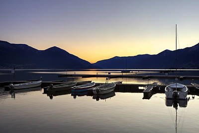 Lake Maggiore Photograph - Boats In The Sunset by Joana Kruse