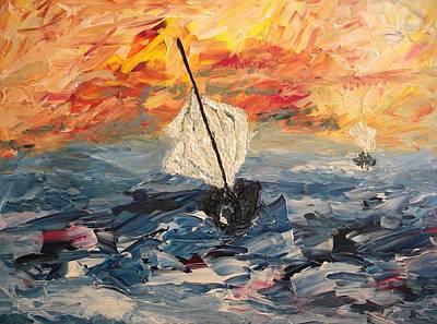 Pictori Romani Contemporani Painting - Boats Iv by Carmen Kolcsar