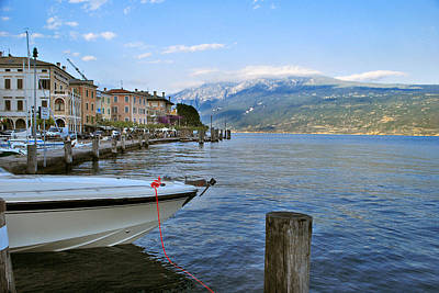 Jeka World Photograph - Boats Moored At Harbor On Lake Garda In Gargnano Italy by Jeff Rose