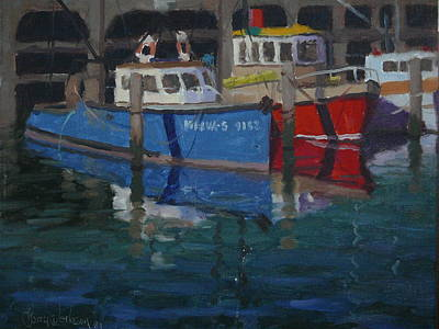 Painting - Boats Napier 1982 by Terry Perham
