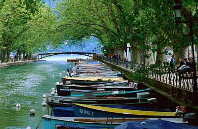 Boats On Canal Du Vasse, Annecy, Rhone-alpes, France, Europe Art Print by John Elk III