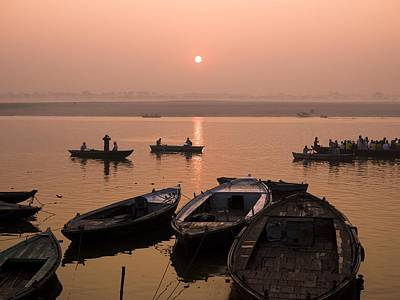 Boats On Ganges River At Sunset Art Print by Keith Levit
