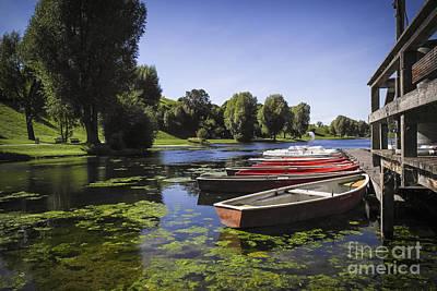 Boats On Lake Art Print