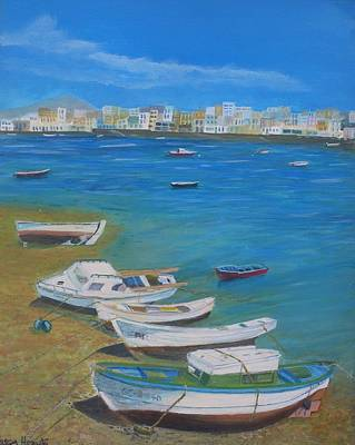 Boats On Lanzorote Shore Original by Noreen Hegarty