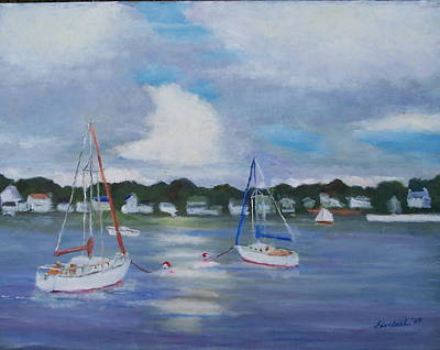 Thunder Painting - Boats On The Bay by Bob Herbert