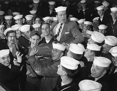 1950s Candids Photograph - Bob Hope Entertaining Sailors by Everett