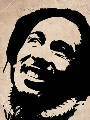 Bob Marley Grey And Black Art Print by Naxart Studio