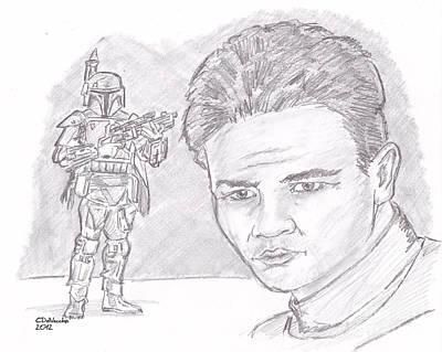 Drawing - Boba Fett by Chris  DelVecchio