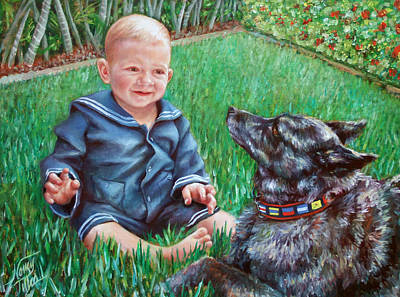 Art Print featuring the painting Bobby And Cinder by Nancy Tilles
