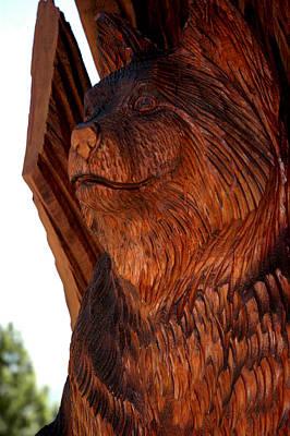 Cat Wood Carving Photograph - Bobcat Closeup by LeeAnn McLaneGoetz McLaneGoetzStudioLLCcom
