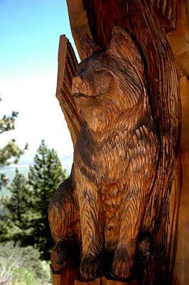 Cat Wood Carving Photograph - Bobcat Sentinel by LeeAnn McLaneGoetz McLaneGoetzStudioLLCcom